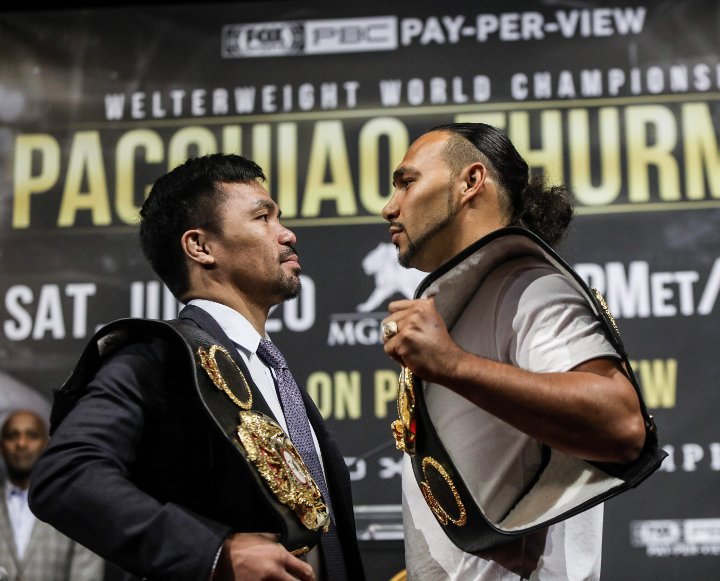 , Fotos: Manny Pacquiao, Keith Thurman – Cara a cara en Nueva York