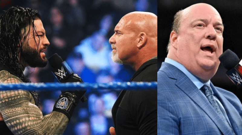 Paul Heyman participa en las noticias detrás del escenario del combate Goldberg vs. Roman Reigns de la WWE WrestleMania