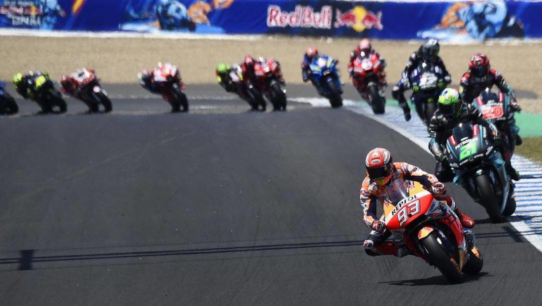 La Honda di Marc Marquez precede le Yamaha di Franco Morbidelli e Fabio Quartararo a Jerez 2019. Ipp