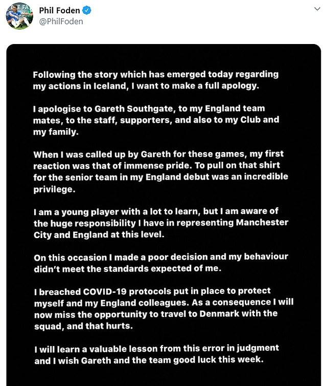 Foden recurrió a las redes sociales el lunes por la noche para pedir disculpas a todos los involucrados.