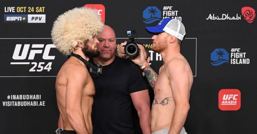 Video de UFC 254: Khabib Nurmagomedov y Justin Gaethje se miran juntos