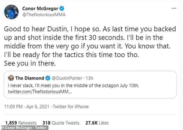McGregor tuiteó que se preparará para las tácticas de Prijel esta vez.