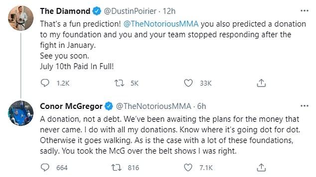 Su competencia explotó cuando Poirier acusó a McGregor de no pagar una donación caritativa.