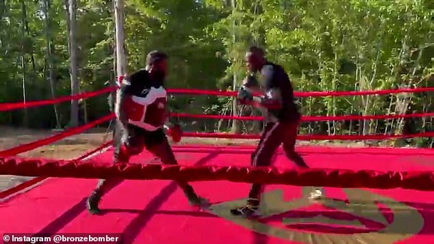 The Bronze Bomber subió un video de él mismo golpeando las almohadillas con Scott en el bosque.