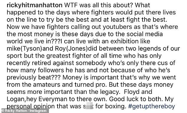 Hatton dijo que la pelea fue 'una mierda para el boxeo' y que 'el dinero es más importante que el legado'