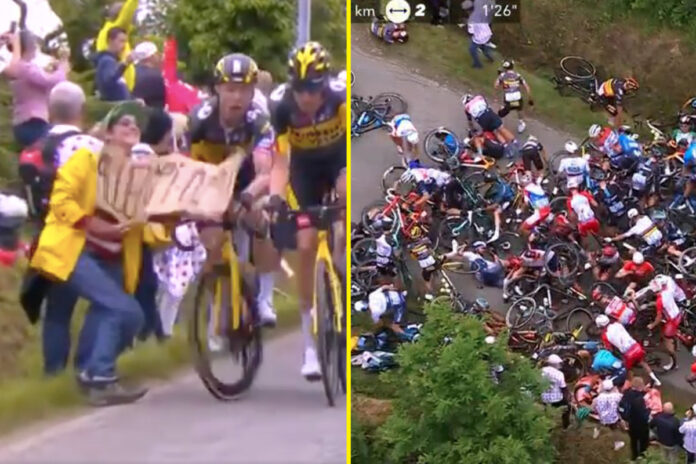 Espectador con cartel provoca un gran accidente en el Tour de Francia, ya que 21 ciclistas se lesionan en la etapa 1 y el organizador planea demandar