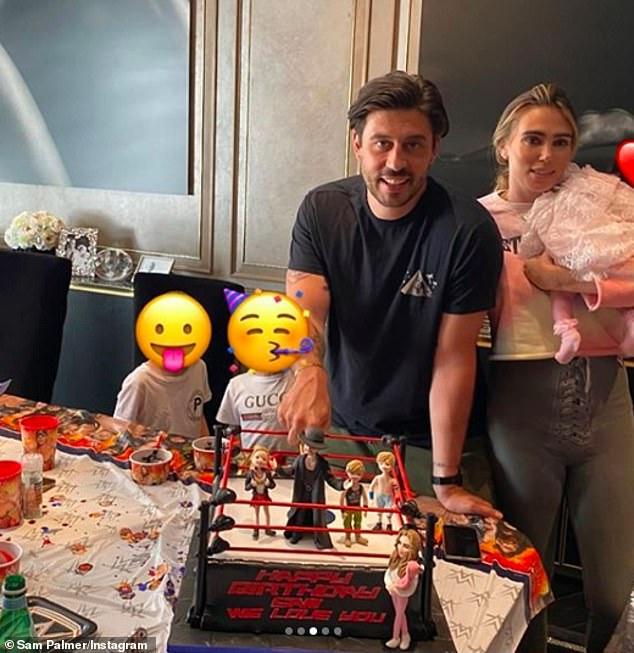 Lindo: Petra Ecclestone, de 31 años, organizó una lujosa fiesta con temática de lucha libre el sábado para celebrar el cumpleaños número 37 de su prometido, Sam Palmer.