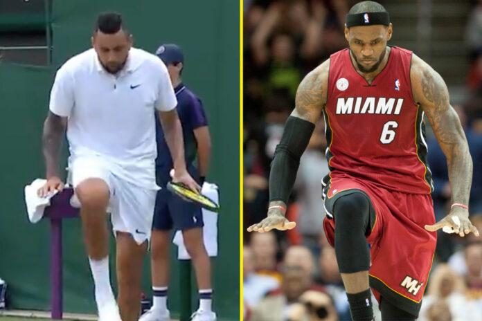 Nick Kyrgios realiza la icónica celebración del 'silenciador' de LeBron James mientras la estrella del tenis inconformista pide consejo al espectador de Wimbledon en la victoria y se queja de la cancha