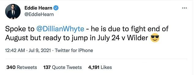 Eddie Hearn respondió a la noticia, afirmando que Dillian Whyte está lista para intervenir el 24 de julio.