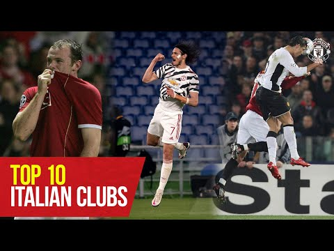 10 mejores goles contra clubes italianos |  Rooney, Cavani, Giggs, Ronaldo, Fernandes |  Manchester unido