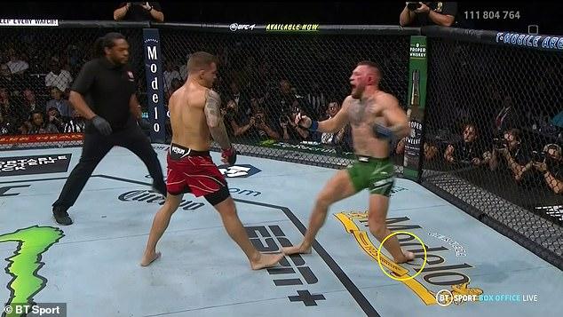 McGregor se rompió la pierna al final de la primera ronda de la batalla de la trilogía con Dustin Poirier.