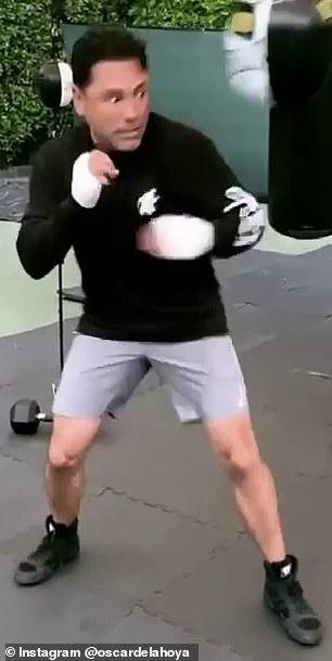 Las imágenes mostraron que una leyenda del boxeo estaba trabajando en una bolsa, probablemente en casa.