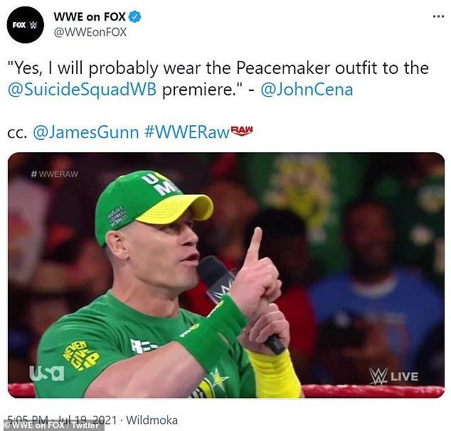 Estreno: Cena regresó inesperadamente a WWE en el evento de pago por evento Money in the Bank de WWE el domingo por la noche.También regresó a Raw el lunes por la noche y dijo que `` podría estar usando el disfraz de pacificador para el estreno de The Suicide Squad. Reflexión