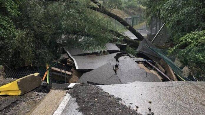 F1, mal tiempo en Spa-Francorchamps, colapsa una vía de acceso al circuito