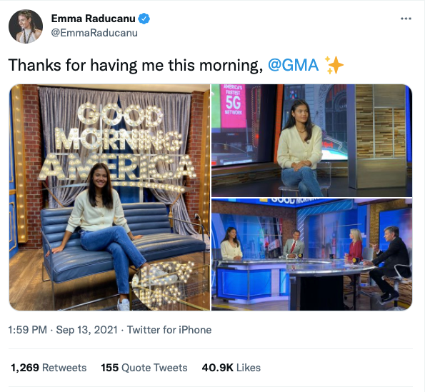 Raducanu estuvo en los programas matutinos de American el lunes.