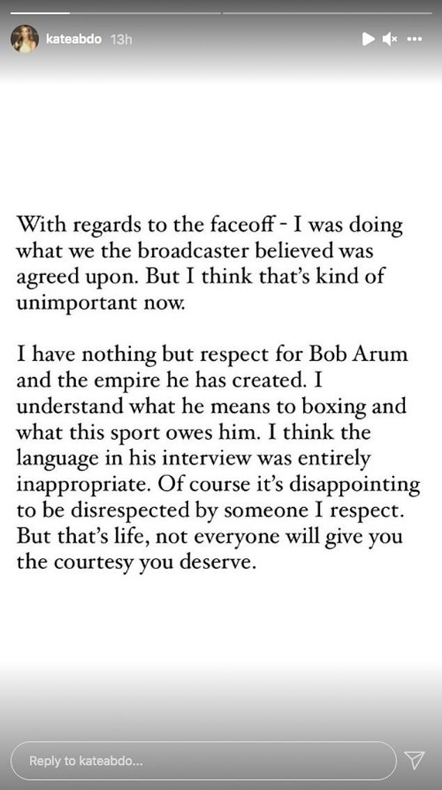 Abdo respondió a la perorata 'completamente inapropiada' de Arum en una publicación en su historia de Twitter